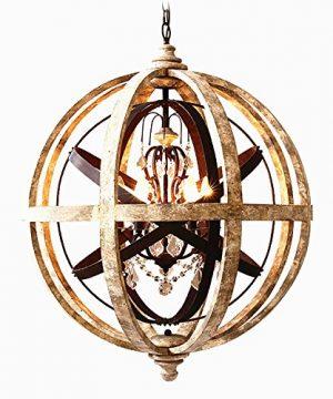 KunMai Rustic Retro Weathered Wooden Globe Metal Orb Crystal 5 Light Chandelier Candle Style Wood Pendant Light Fixtures Medium 0 300x360