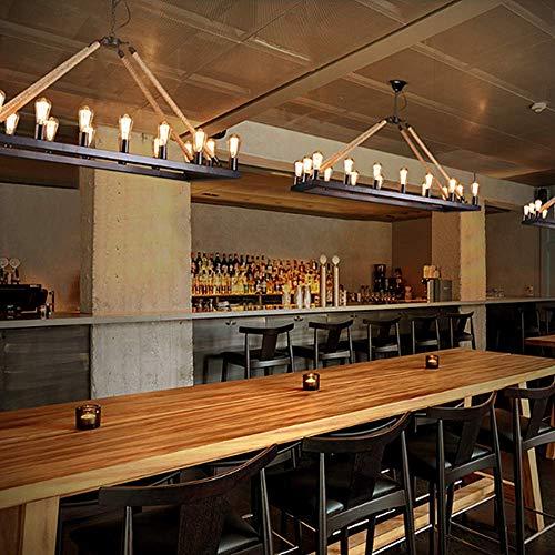 LAKIQ 16 Lights Industrial Rustic Chandelier Rope Barn Pendant Light Rectangle Hanging Ceiling Lighting Fixture Farmhouse Island Lights For Kitchen Dinning Room 0 3