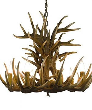 LAKIQ Farmhouse Rustic Candle Chandelier 9 Lights Resin Antlers Shade Pendant Light Dining Table Hanging Lighting Fixture For Dining Room Kitchen Restaurant Living Room 0 300x360
