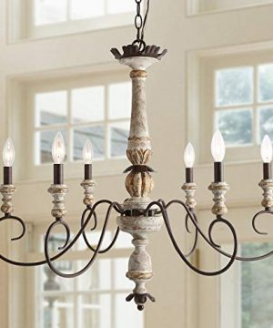 LALUZ 6 Lights French Country Shabby Chic Chandelier With Cloud Arms In Distressed Wood And Rusty Metal Finish 311 Large Living Room Pendant Light Fixture 0 300x360