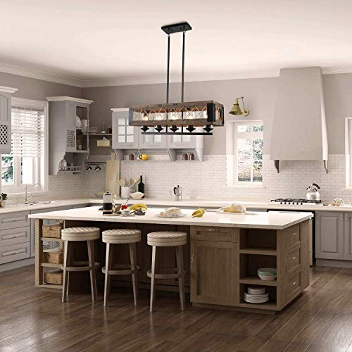 LALUZ Farmhouse Chandelier 5 Light Kitchen Island Lighting With Clear Glass Wood And Black Finish 32 Inches 0 0