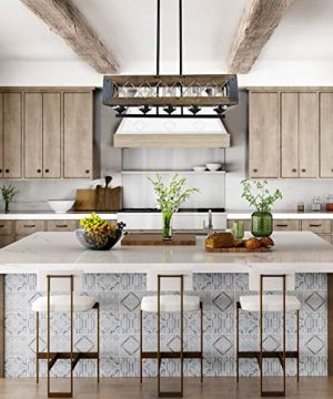 LALUZ Farmhouse Chandelier 5 Light Kitchen Island Lighting With Clear Glass Wood And Black Finish 32 Inches 0 1 300x360