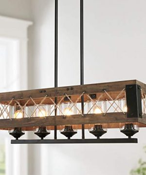 LALUZ Farmhouse Chandelier 5 Light Kitchen Island Lighting With Clear Glass Wood And Black Finish 32 Inches 0 300x360