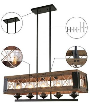 LALUZ Farmhouse Chandelier 5 Light Kitchen Island Lighting With Clear Glass Wood And Black Finish 32 Inches 0 4 300x360
