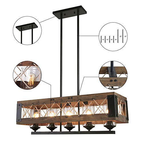 LALUZ Farmhouse Chandelier 5 Light Kitchen Island Lighting With Clear Glass Wood And Black Finish 32 Inches 0 4