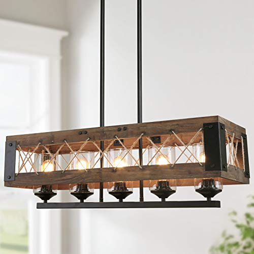 LALUZ Farmhouse Chandelier 5 Light Kitchen Island Lighting With Clear Glass Wood And Black Finish 32 Inches 0