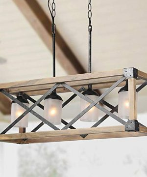 LALUZ Farmhouse Chandelier For Dining Room Wood Kitchen Island Lighting 275 L 0 300x360