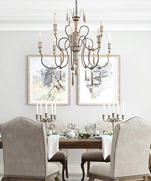 LALUZ Farmhouse Wood Chandeliers For Dining Rooms 9 Light Distressed French Country Lighting D39H38 A03483 0 0 300x360
