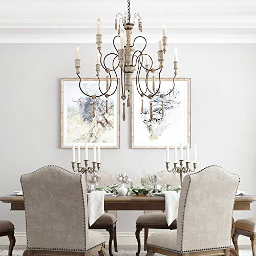LALUZ Farmhouse Wood Chandeliers For Dining Rooms 9 Light Distressed French Country Lighting D39H38 A03483 0 0