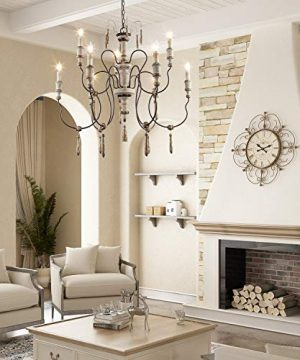 LALUZ Farmhouse Wood Chandeliers For Dining Rooms 9 Light Distressed French Country Lighting D39H38 A03483 0 1 300x360