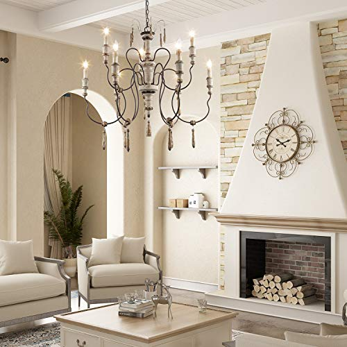 LALUZ Farmhouse Wood Chandeliers For Dining Rooms 9 Light Distressed French Country Lighting D39H38 A03483 0 1