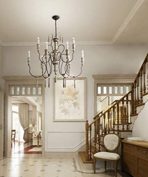 LALUZ Farmhouse Wood Chandeliers For Dining Rooms 9 Light Distressed French Country Lighting D39H38 A03483 0 3 300x360