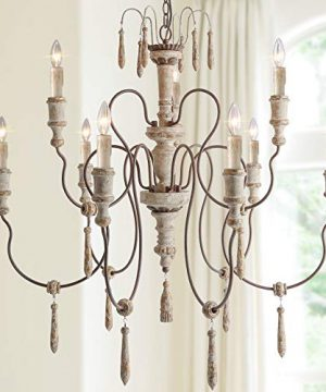 LALUZ Farmhouse Wood Chandeliers For Dining Rooms 9 Light Distressed French Country Lighting D39H38 A03483 0 300x360