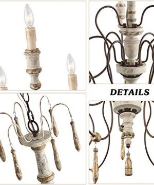 LALUZ Farmhouse Wood Chandeliers For Dining Rooms 9 Light Distressed French Country Lighting D39H38 A03483 0 4 300x360