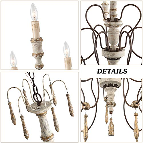 LALUZ Farmhouse Wood Chandeliers For Dining Rooms 9 Light Distressed French Country Lighting D39H38 A03483 0 4