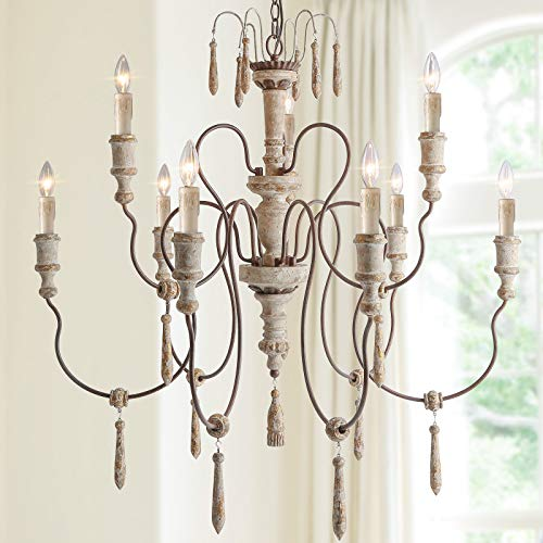 LALUZ Farmhouse Wood Chandeliers For Dining Rooms 9 Light Distressed French Country Lighting D39H38 A03483 0