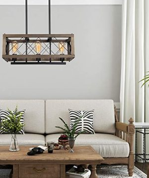 LALUZ Modern Farmhouse Chandelier 3 Light Dining Room Light In Rustic Wood And Black Metal Finish 24 Rectangular Chandelier For Kitchen Island 0 3 300x360
