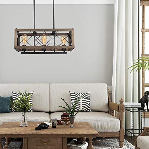 LALUZ Modern Farmhouse Chandelier 3 Light Dining Room Light In Rustic Wood And Black Metal Finish 24 Rectangular Chandelier For Kitchen Island 0 3