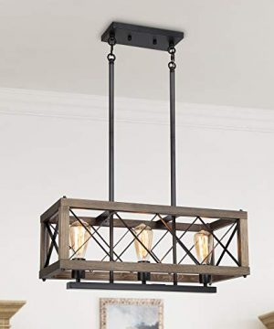 LALUZ Modern Farmhouse Chandelier 3 Light Dining Room Light In Rustic Wood And Black Metal Finish 24 Rectangular Chandelier For Kitchen Island 0 300x360