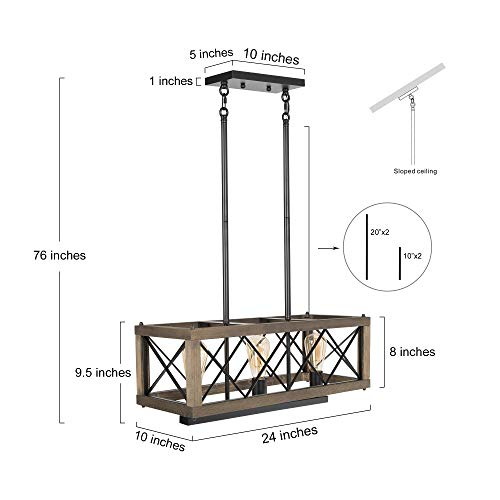 LALUZ Modern Farmhouse Chandelier 3 Light Dining Room Light In Rustic Wood And Black Metal Finish 24 Rectangular Chandelier For Kitchen Island 0 4