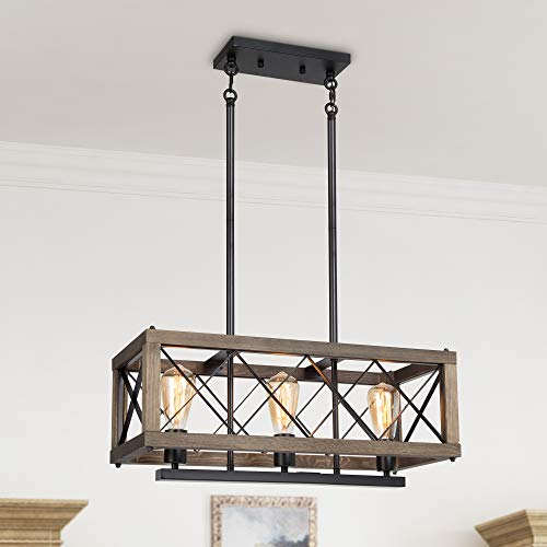 LALUZ Modern Farmhouse Chandelier 3 Light Dining Room Light In Rustic Wood And Black Metal Finish 24 Rectangular Chandelier For Kitchen Island 0
