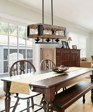 LALUZ Pendant Lighting For Kitchen Island 3 Light Lantern Wooden Chandelier In Painted Black Metal With Clear Glass Shades Hemp Ropes 24L 106W 102H Rustic Light Fixture 0 0 300x360