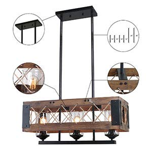 LALUZ Pendant Lighting For Kitchen Island 3 Light Lantern Wooden Chandelier In Painted Black Metal With Clear Glass Shades Hemp Ropes 24L 106W 102H Rustic Light Fixture 0 3