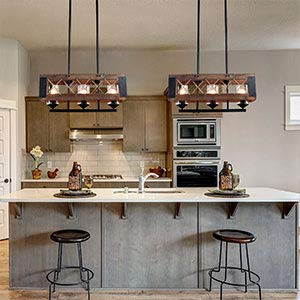 LALUZ Pendant Lighting For Kitchen Island 3 Light Lantern Wooden Chandelier In Painted Black Metal With Clear Glass Shades Hemp Ropes 24L 106W 102H Rustic Light Fixture 0 5