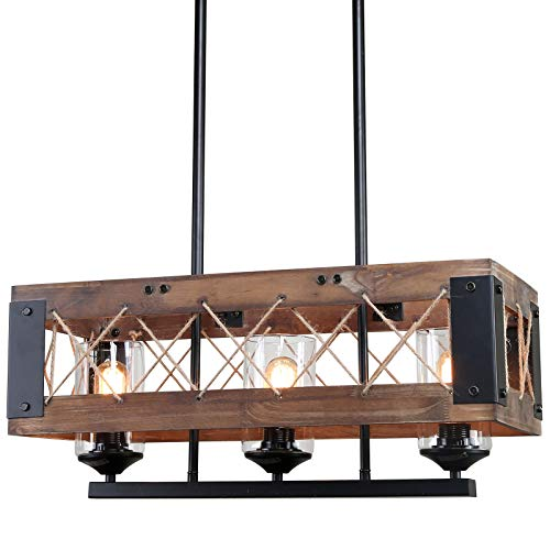 LALUZ Pendant Lighting For Kitchen Island 3 Light Lantern Wooden Chandelier In Painted Black Metal With Clear Glass Shades Hemp Ropes 24L 106W 102H Rustic Light Fixture 0