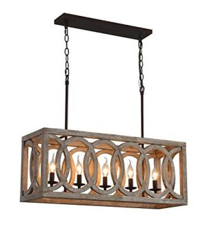 LLCEW Dining Room Wooden Chandelier Farmhouse Rectangle 5 Light Wood Chandeliers Kitchen Pendant Lighting Fixture 30 Rustic Metal And Wood Chic Island Lighting Pool Table Lights 0 300x360