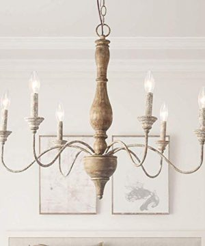 LNC French Country Chandeliers Wood 6 Lights Rust Arms For Dining Bedroom Living Room And Bathroom Brown 0 300x360