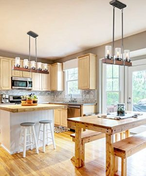 LNC Kitchen Light Fixtures Farmhouse Chandelier Over Island In Rustic Wood And Metal Glass Pendant For Dining Room 0 0 300x360