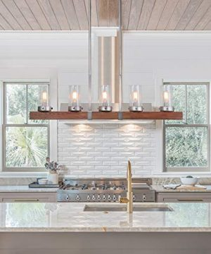 LNC Kitchen Light Fixtures Farmhouse Chandelier Over Island In Rustic Wood And Metal Glass Pendant For Dining Room 0 2 300x360