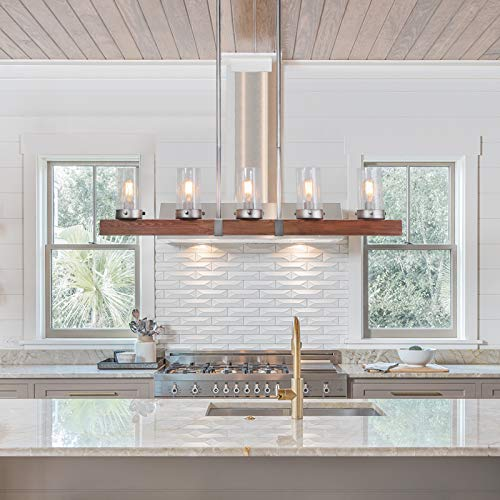 LNC Kitchen Light Fixtures Farmhouse Chandelier Over Island In Rustic Wood And Metal Glass Pendant For Dining Room 0 2