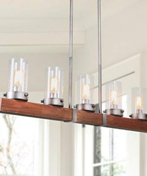 LNC Kitchen Light Fixtures Farmhouse Chandelier Over Island In Rustic Wood And Metal Glass Pendant For Dining Room 0 300x360