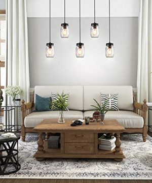 LNC Pendant Lighting For Kitchen IslandWooden Farmhouse Chandeliers For Dining Rooms Glass Mason Jar Hanging Lamp A02983 Brown 0 0 300x360