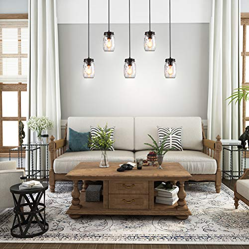 LNC Pendant Lighting For Kitchen IslandWooden Farmhouse Chandeliers For Dining Rooms Glass Mason Jar Hanging Lamp A02983 Brown 0 0