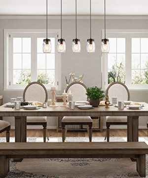 LNC Pendant Lighting For Kitchen IslandWooden Farmhouse Chandeliers For Dining Rooms Glass Mason Jar Hanging Lamp A02983 Brown 0 1 300x360