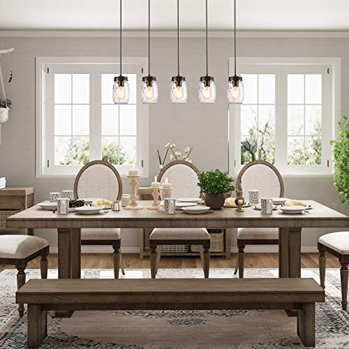 LNC Pendant Lighting For Kitchen IslandWooden Farmhouse Chandeliers For Dining Rooms Glass Mason Jar Hanging Lamp A02983 Brown 0 1