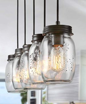 LNC Pendant Lighting For Kitchen IslandWooden Farmhouse Chandeliers For Dining Rooms Glass Mason Jar Hanging Lamp A02983 Brown 0 300x360