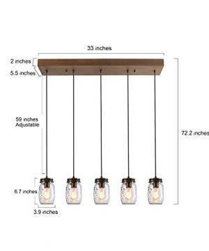 LNC Pendant Lighting For Kitchen IslandWooden Farmhouse Chandeliers For Dining Rooms Glass Mason Jar Hanging Lamp A02983 Brown 0 4 300x360