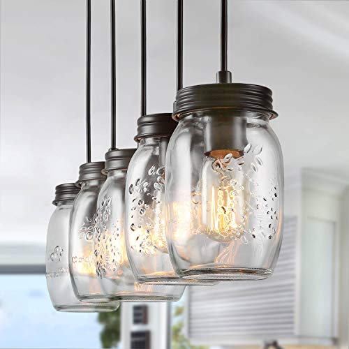 LNC Pendant Lighting For Kitchen IslandWooden Farmhouse Chandeliers For Dining Rooms Glass Mason Jar Hanging Lamp A02983 Brown 0