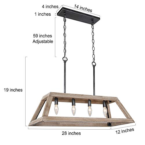 LOG BARN Chandeliers For Dining Room Farmhouse Chandelier In Rustic Wood And Vintage Brushed Metal Finish With Trapezoidal Shade Geometric Lighting Fixtures Hanging For Foyer Kitchen Island 0 1