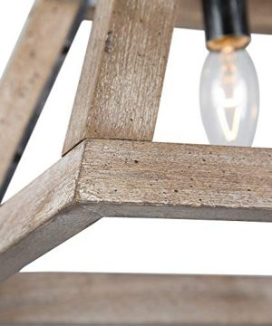 LOG BARN Chandeliers For Dining Room Farmhouse Chandelier In Rustic Wood And Vintage Brushed Metal Finish With Trapezoidal Shade Geometric Lighting Fixtures Hanging For Foyer Kitchen Island 0 2 300x360
