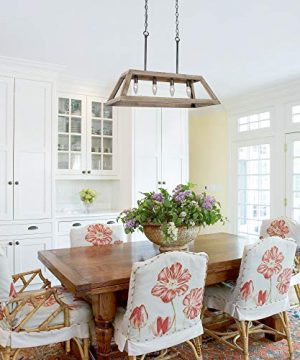 LOG BARN Chandeliers For Dining Room Farmhouse Chandelier In Rustic Wood And Vintage Brushed Metal Finish With Trapezoidal Shade Geometric Lighting Fixtures Hanging For Foyer Kitchen Island 0 3 300x360