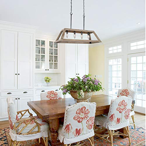 LOG BARN Chandeliers For Dining Room Farmhouse Chandelier In Rustic Wood And Vintage Brushed Metal Finish With Trapezoidal Shade Geometric Lighting Fixtures Hanging For Foyer Kitchen Island 0 3