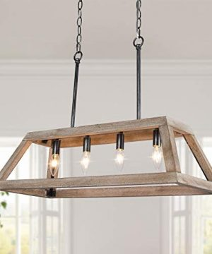 LOG BARN Chandeliers For Dining Room Farmhouse Chandelier In Rustic Wood And Vintage Brushed Metal Finish With Trapezoidal Shade Geometric Lighting Fixtures Hanging For Foyer Kitchen Island 0 300x360