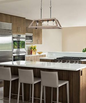 LOG BARN Chandeliers For Dining Room Farmhouse Chandelier In Rustic Wood And Vintage Brushed Metal Finish With Trapezoidal Shade Geometric Lighting Fixtures Hanging For Foyer Kitchen Island 0 4 300x360