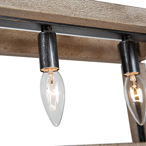 LOG BARN Chandeliers For Dining Room Farmhouse Chandelier In Rustic Wood And Vintage Brushed Metal Finish With Trapezoidal Shade Geometric Lighting Fixtures Hanging For Foyer Kitchen Island 0 5