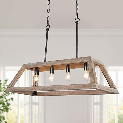 LOG BARN Chandeliers For Dining Room Farmhouse Chandelier In Rustic Wood And Vintage Brushed Metal Finish With Trapezoidal Shade Geometric Lighting Fixtures Hanging For Foyer Kitchen Island 0